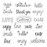 Collection of hand drawn words for your design. Welcome, thank y Stock Images
