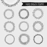 Collection of hand drawn wreaths, round floral vector frames set Stock Photo
