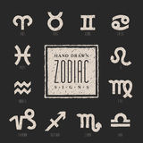 Collection of hand drawn zodiac signs Royalty Free Stock Images