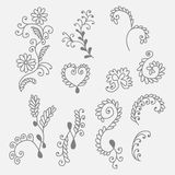 Collection of hand drown floral elements Stock Photo