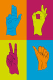 Collection of hand gestures. 4 different hand gestures, vector illustration Stock Images