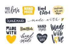 Collection of Hand Made inscriptions for labels or tags for handcrafted goods. Set of elegant lettering handwritten with. Various calligraphic fonts isolated on Stock Photo