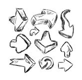 Collection of Hand Made Sketch Arrows Royalty Free Stock Photos