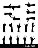 Collection of hand sign silhouettes Royalty Free Stock Photography