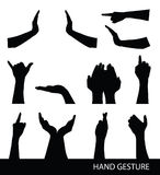 Collection of hand sign silhouettes Stock Photo