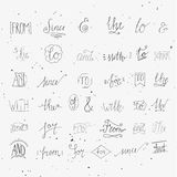 Collection of hand sketched ampersands and catchwords. For your design. And, with, for, from, since, the, to. Decorative elements. Retro elements with swirls Stock Image