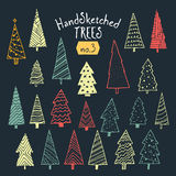 Collection of hand sketched Christmas trees. Decorative illustrations ready for almost all Christmas ocasions, from greeting cards, to posters Royalty Free Stock Image
