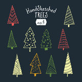Collection of hand sketched Christmas trees. Decorative illustrations ready for almost all Christmas ocasions, from greeting cards, to posters Royalty Free Stock Photography