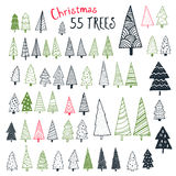 Collection of hand sketched Christmas trees. Decorative illustrations ready for almost all Christmas ocasions, from greeting cards, to posters Stock Photo