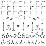 Collection of hand-sketched elements - calligraphic elements, ar Royalty Free Stock Photography