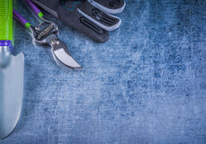 Collection of hand spade garden pruner protective gloves agricul Royalty Free Stock Photo