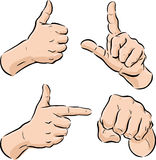 Collection of Hand Symbols. Including a thumbs up, pressing finger, pointing and punching fist Stock Photography
