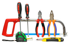 Collection of hand tools stock photography