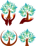 Collection Hand tree logos Royalty Free Stock Photography