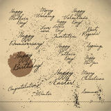 Collection of hand written congratulations. Royalty Free Stock Images
