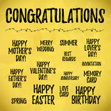 Collection of hand written congratulations. Royalty Free Stock Image