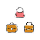 Collection of handbags, vector accessories illustrations Stock Photos