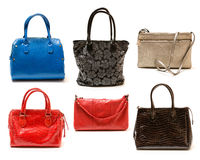 Collection of handbags on white background. Collection of modern handbags on white background Stock Photos