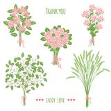 Collection of handdrawn bouquets Stock Images