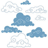 Collection of handdrawn  clouds. Collection of  weather clouds Stock Photo