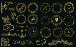 Collection of handdrawn gold laurels and wreaths. Royalty Free Stock Images