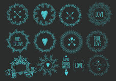 Collection of handdrawn laurels and wreaths Stock Photo