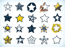 Collection of handdrawn stars Royalty Free Stock Image