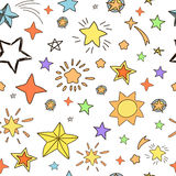 Collection of handdrawn stars  seamless pattern Royalty Free Stock Image