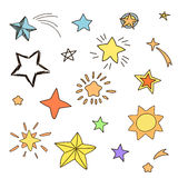 Collection of handdrawn stars in various shapes Stock Image
