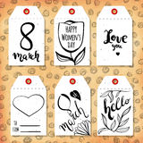 Collection handdrawn in the style of the lovely ready-made gift tags. Congratulations on the arrival of spring and March 8. Vector Royalty Free Stock Photography