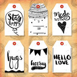 Collection handdrawn in the style of the lovely ready-made gift tags with love for lovers. Vector Royalty Free Stock Photo