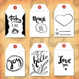 Collection handdrawn in the style of the lovely ready-made gift tags with love for Valentine's day. Vector Stock Photo