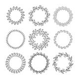 Collection of handdrawn wreaths  isolated . Stock Image