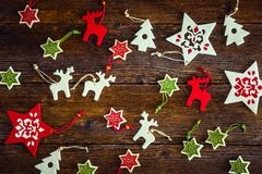 Collection of handmade felt Christmas ornaments royalty free stock photography