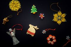 Collection of handmade Christmas ornaments Stock Photography