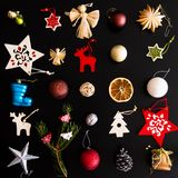 Collection of handmade Christmas ornaments Stock Photo