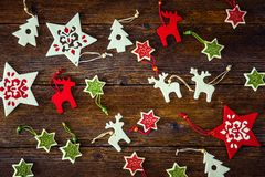 Collection of handmade Christmas ornaments royalty free stock photo