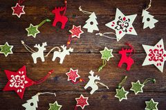 Collection of handmade Christmas ornaments stock image