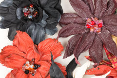 Collection of handmade leather flowers Stock Photography