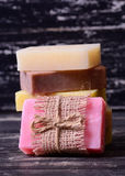 Collection of handmade soap Royalty Free Stock Images