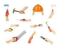 Collection hands with construction tools Royalty Free Stock Photo