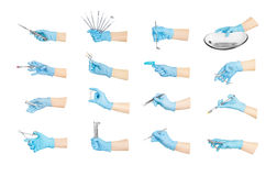Collection hands with dental tools Stock Photography