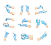 Collection hands with dental tools Stock Images