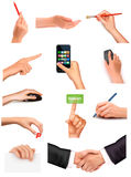 Collection of hands holding different objects Royalty Free Stock Image