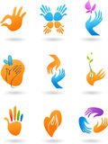 Collection of hands icons Stock Images