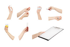 Collection of hands with medical tools Royalty Free Stock Photos