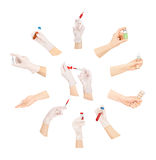 Collection of hands with medical tools Royalty Free Stock Photography