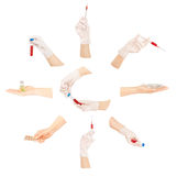 Collection of hands with medical tools Stock Images