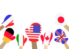 Collection of hands with national flags, in blue background. Vec Royalty Free Stock Image