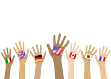 Collection of hands with national flags, isolated in white backg Stock Photo